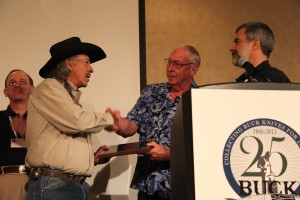 David Yellowhorse enters the Buck Collectors Club during the Buck Collectors Silver Anniversary gala. From left: Larry Oden, David Yellowhorse, Gene Merritt and John Foresman.