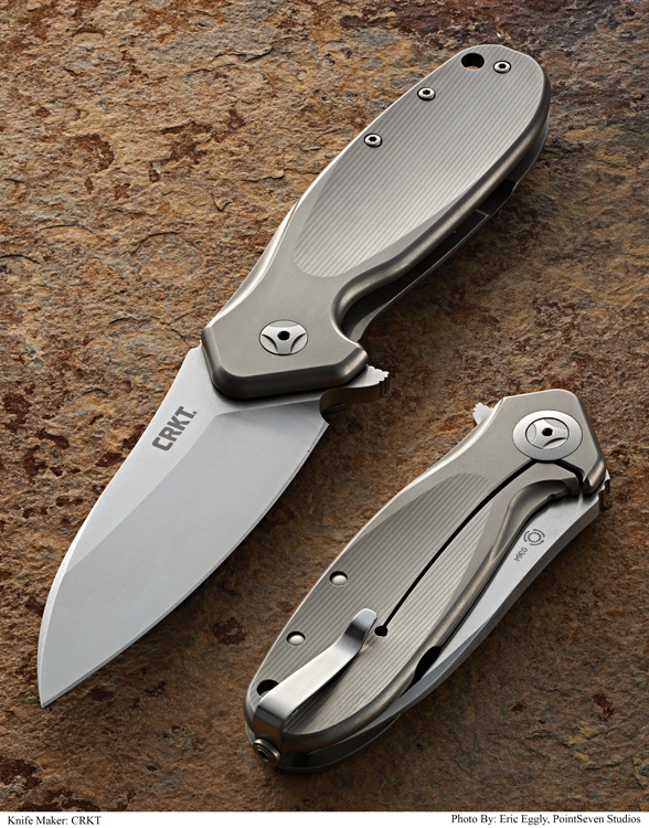 "BLADE MAGAZINE 2014 OVERALL KNIFE OF THE YEAR@ went to the CRKT HI JINX. This flipper folder, designed by Ken Onion, sports a 3.320"" blade made of Bohler-Uddeholm Sleipner. Made in a limited edition of 525 in Italy, the knife is already sold out and no more will be made. It had an MSRP of $500."