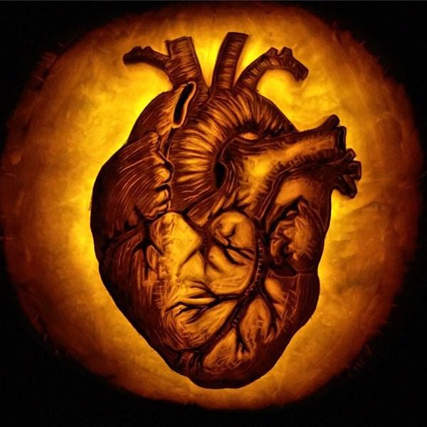 heart carving pumpkin